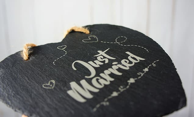 Laser Engraved Slate Heart UK