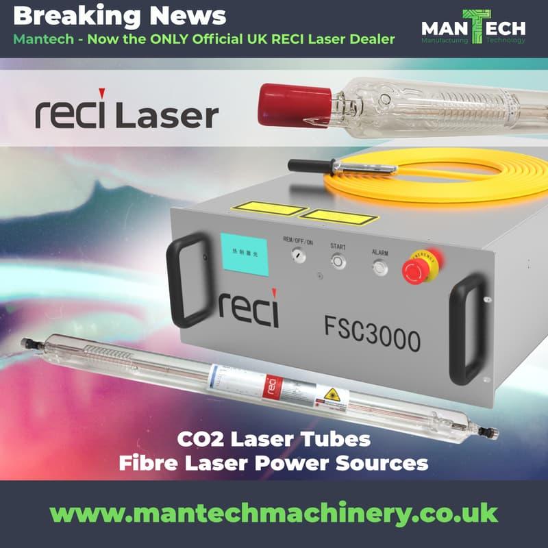 RECI Laser Tubes and Fiber Laser Power Sources
