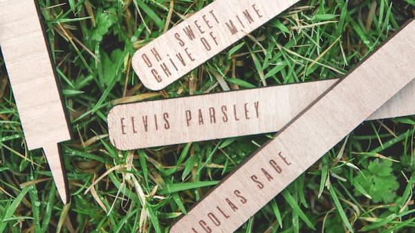 Laser cut herb identity sticks